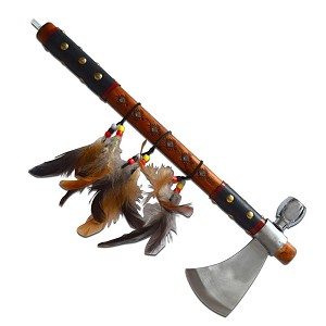 Red Indian Smoking Peace Axe with Feather Pendant