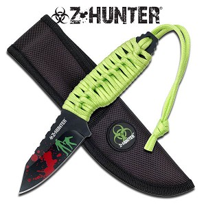 Z Hunter 7 Inch Fixed Blade Survival Knife -  Green Cord Wrap Handle