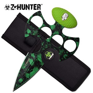 Z Hunter Fantasy Fixed Blade Knuckle Handle Push Knife - Green Skull Camo