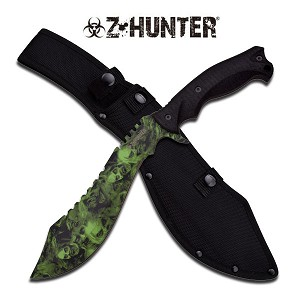 Z Hunter 15 Inch Fixed Blade Kukri Machete Knife - Green Skull Camo