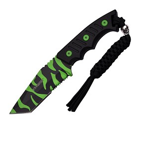 "Z Hunter 7.5"" Full Tang Tanto Fixed Blade Knife - Zombie Coating"