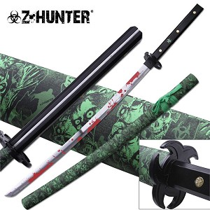 Z-Hunter 38 Inch Full Tang Fantasy Samurai Sword - Green Zombie