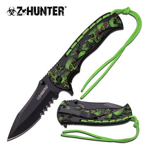 Z Hunter Fantasy Spring Assisted Folding Knife - Green Skull Camo